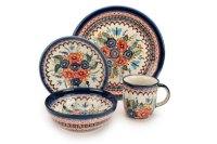 Blue Rose Polish Pottery: Floral Butterfly 16 Piece Dinner Set