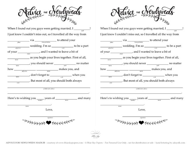Free Wedding Mad Libs Printable - The Blue Sky Papers Blog