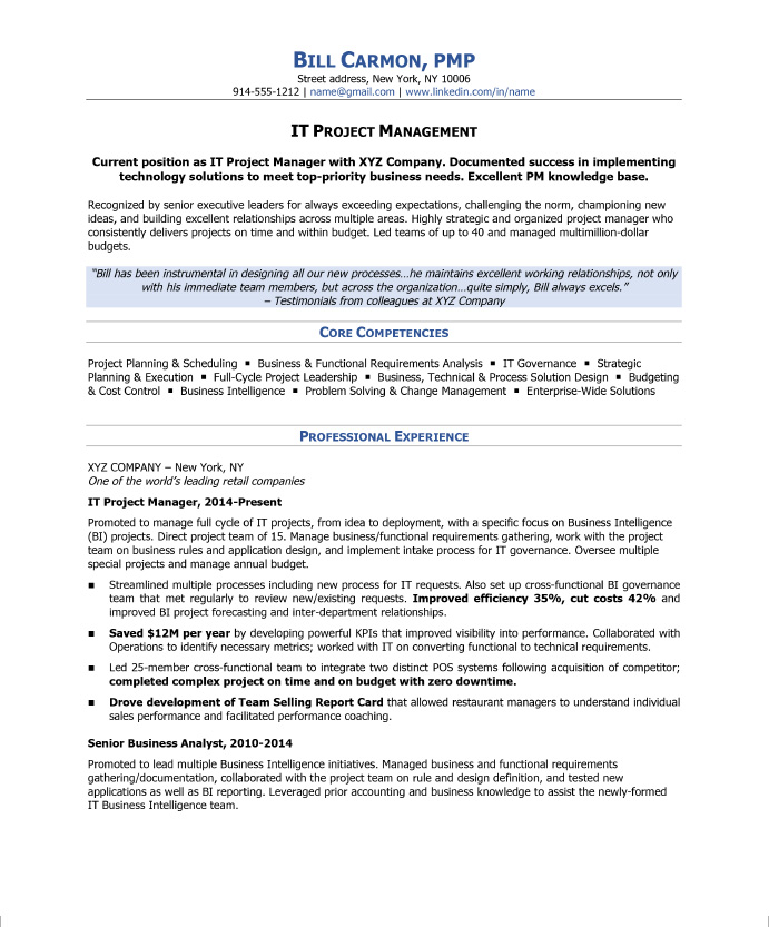 sample resume for project manager - Ozilalmanoof