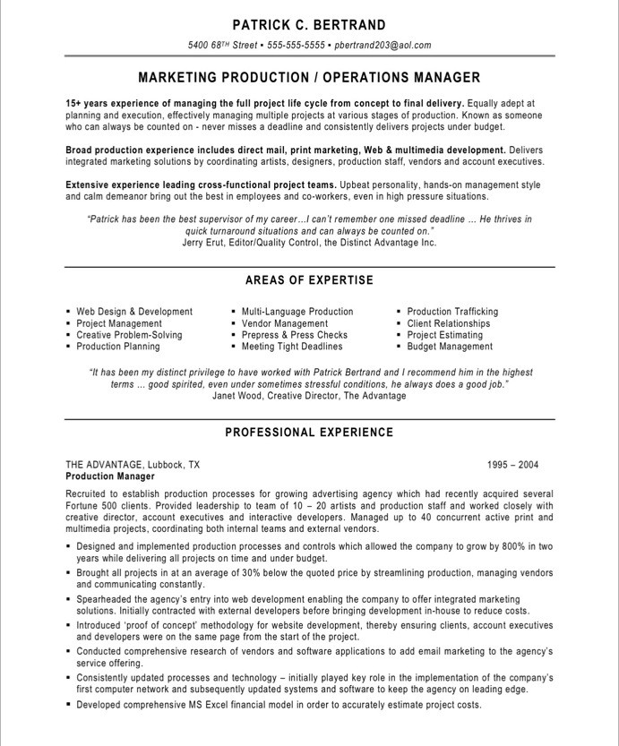Marketing Production Manager Free Resume Samples Blue Sky Resumes