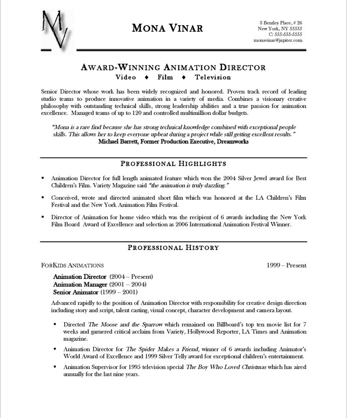 resume example with awards section