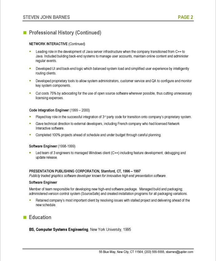 Example Software Engineer Resume - Examples of Resumes