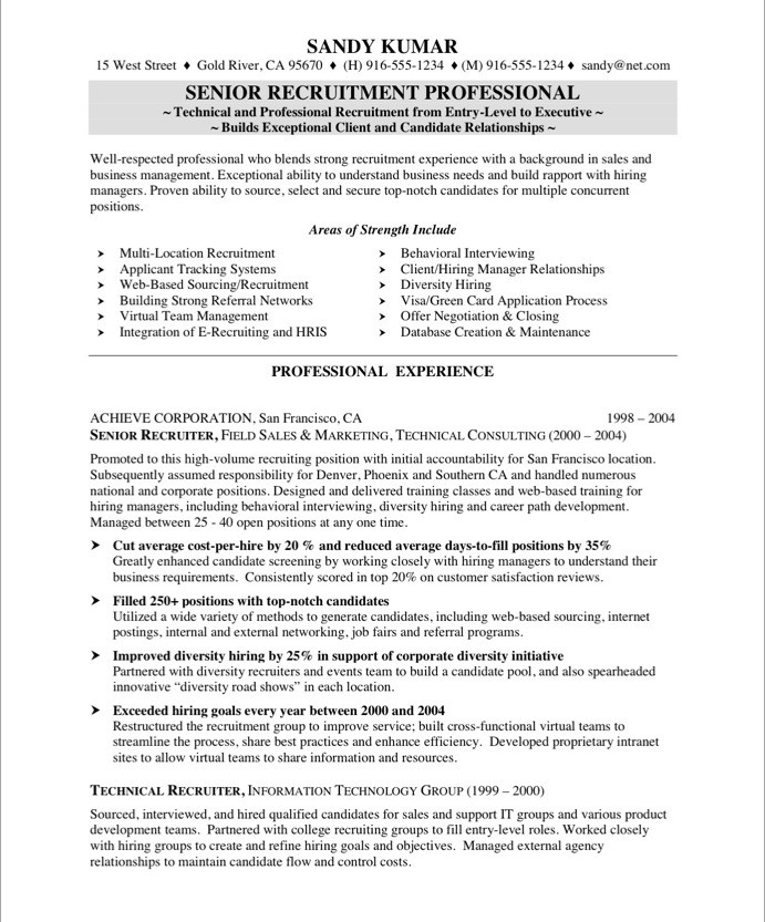 recruiter sample resume - Geccetackletarts - Medical Recruiter Sample Resume