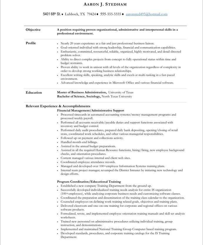 Sample Resume Administrative Assistant Position - Administrative