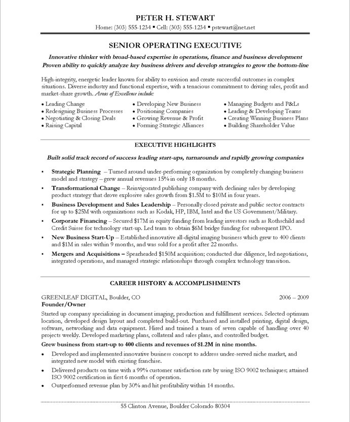 CEO/COO Free Resume Samples Blue Sky Resumes - sample ceo resumes