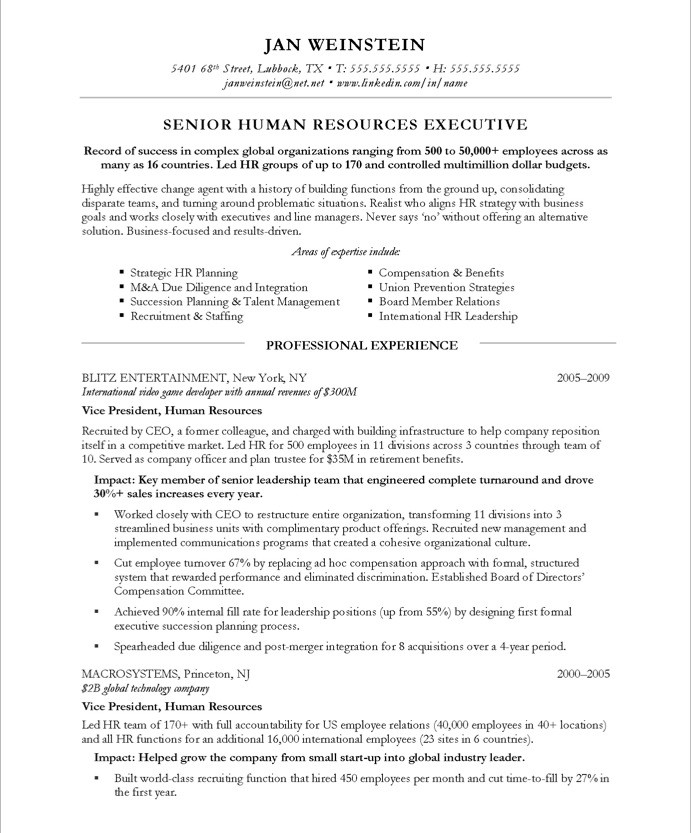 hr resume header
