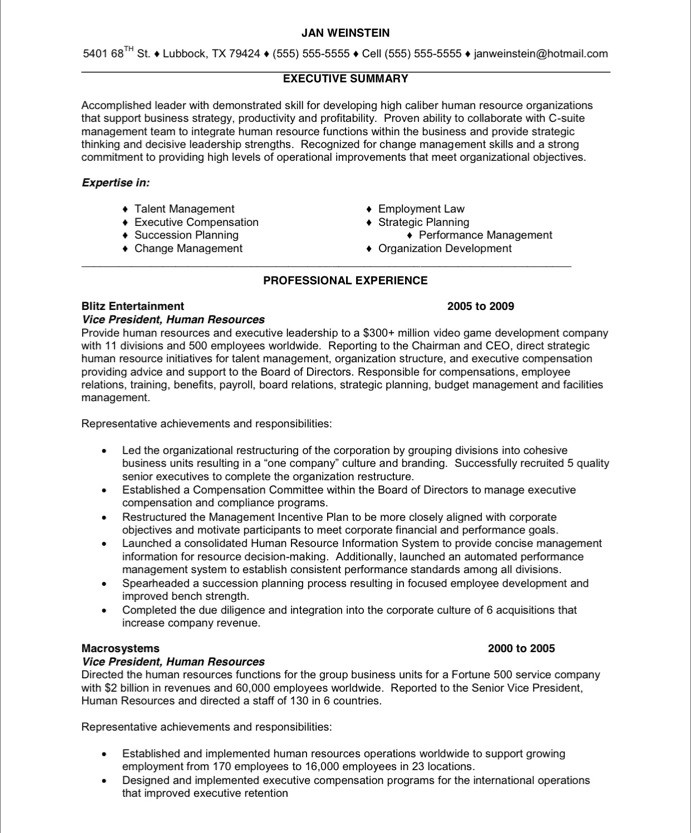 HR Executive Free Resume Samples Blue Sky Resumes - human resource resumes