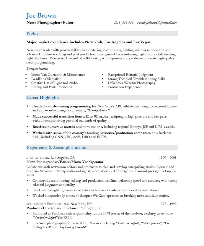 TV News Photographer Free Resume Samples Blue Sky Resumes - sample photographer resume