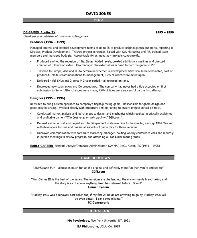 Video Game Producer Free Resume Samples Blue Sky Resumes - game producer sample resume