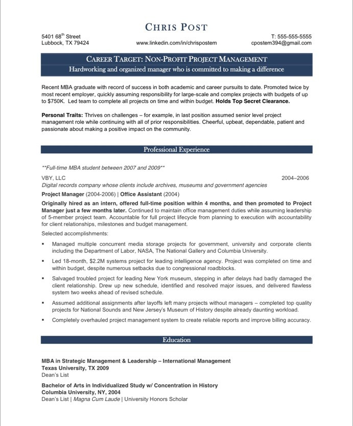 Project Manager Free Resume Samples Blue Sky Resumes - project management resumes samples