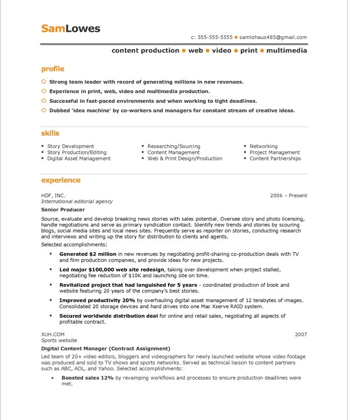 Content Producer Free Resume Samples Blue Sky Resumes - video resume samples