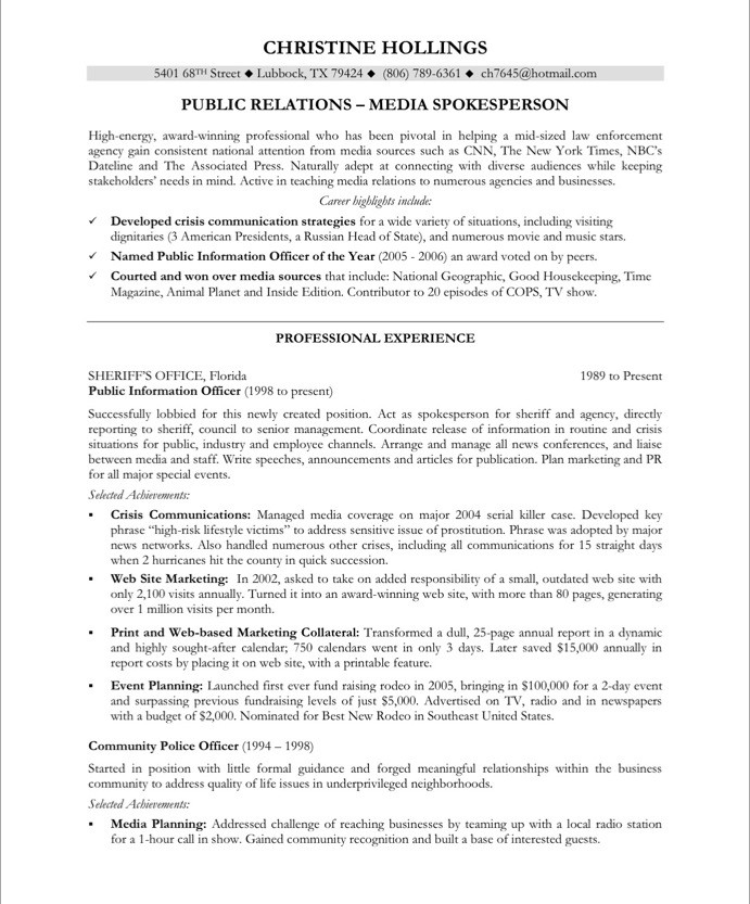 public relations resume sample - Samancinetonic