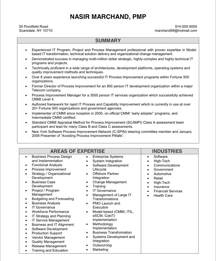 resume examples project manager example sample management examples