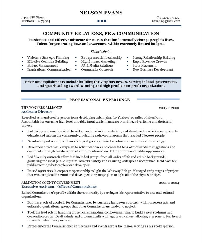 Community Relations Manager Free Resume Samples Blue Sky Resumes - high profile resume samples
