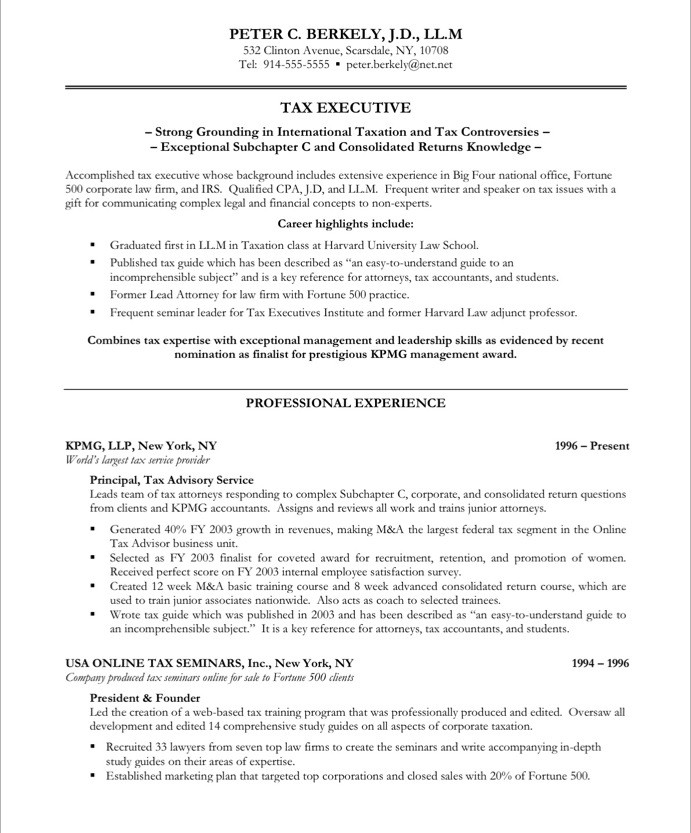 Tax Executive Free Resume Samples Blue Sky Resumes