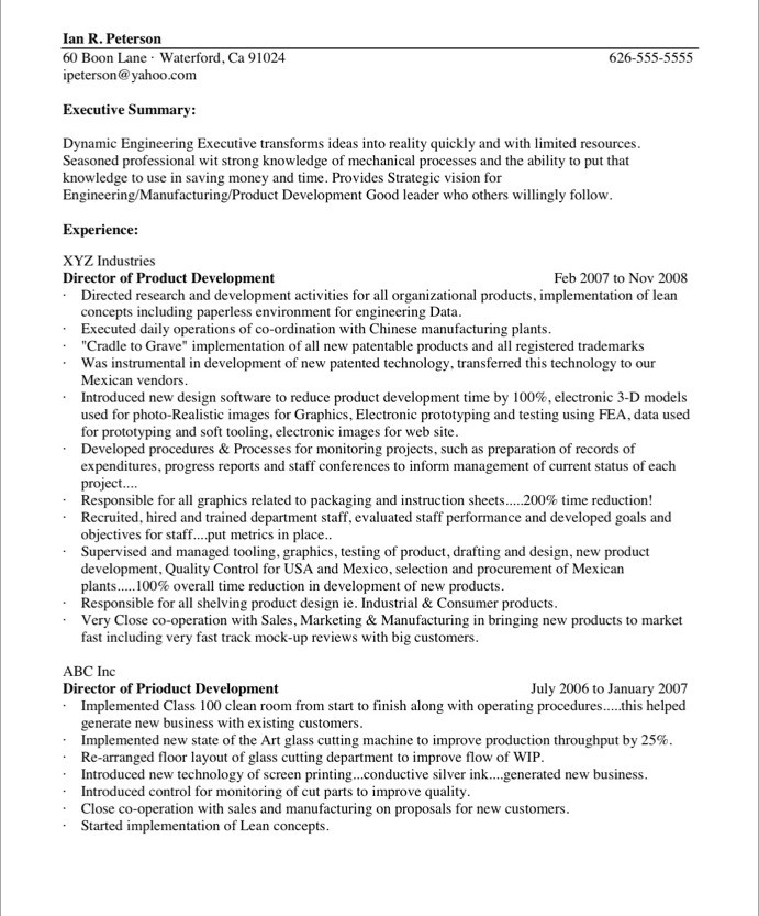 Cto Sample Resume - Free Professional Resume Templates Download