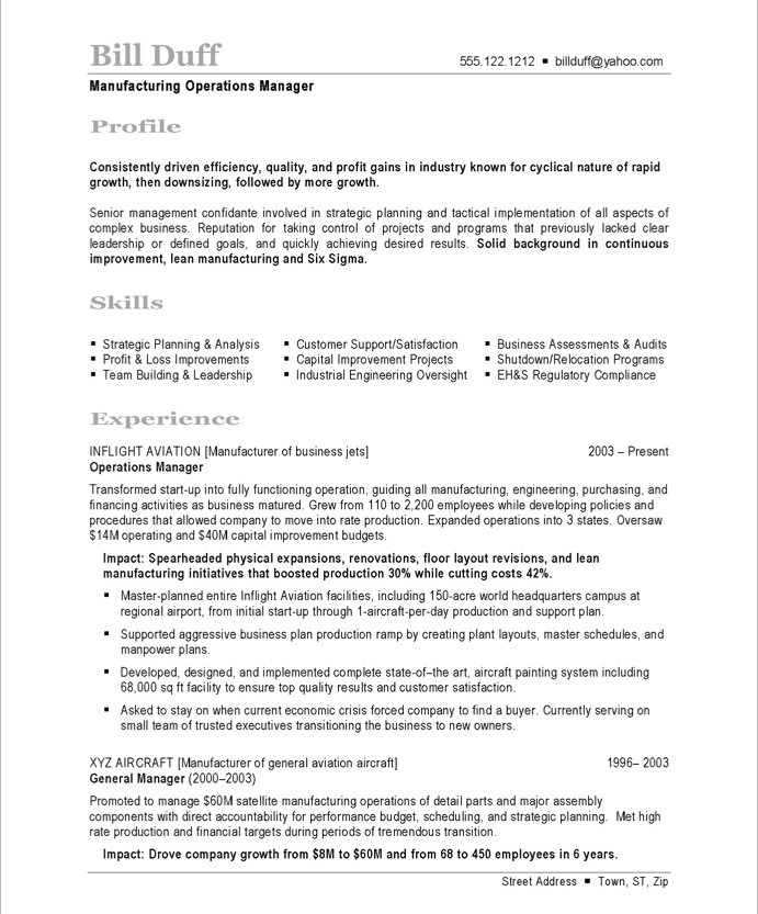 Manufacturing Manager Free Resume Samples Blue Sky Resumes - sample resume manufacturing