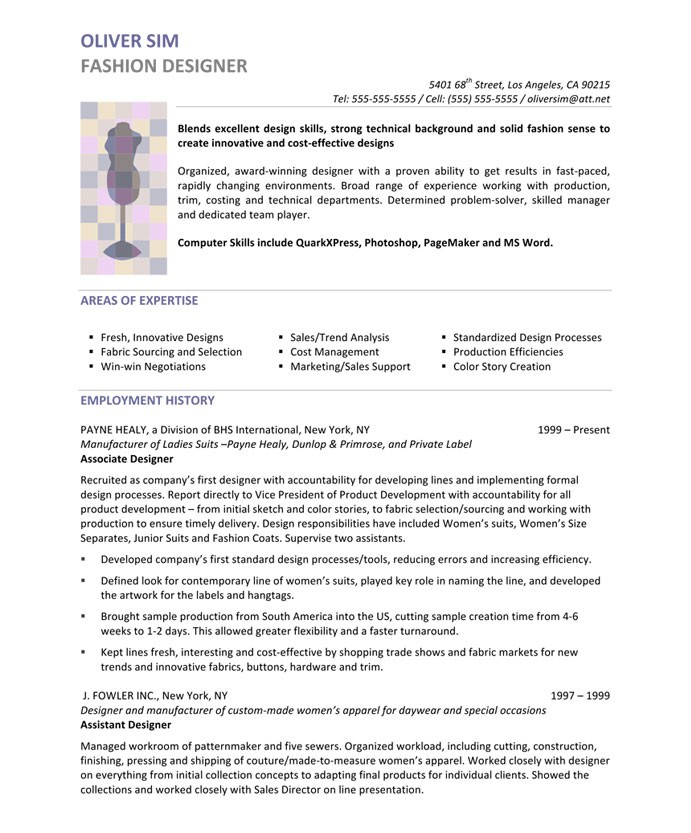 Fashion Designer Free Resume Samples Blue Sky Resumes - Winning Resume Sample