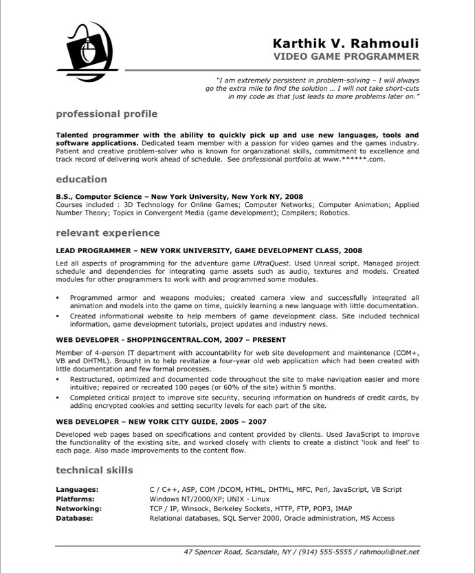 Game Programmer Free Resume Samples Blue Sky Resumes - computer programming student resume