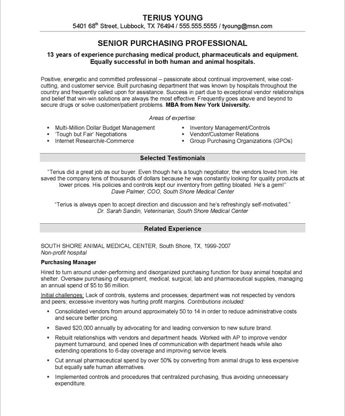 Purchasing Manager Free Resume Samples Blue Sky Resumes