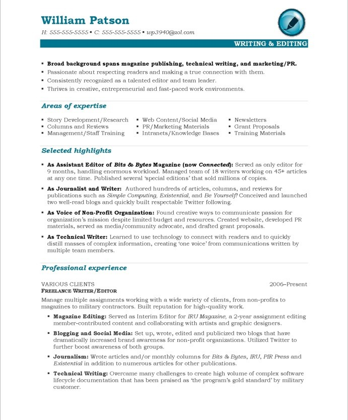 Writer/Editor Free Resume Samples Blue Sky Resumes - Free Resume Writer