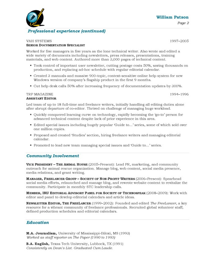 Writer/Editor Free Resume Samples Blue Sky Resumes