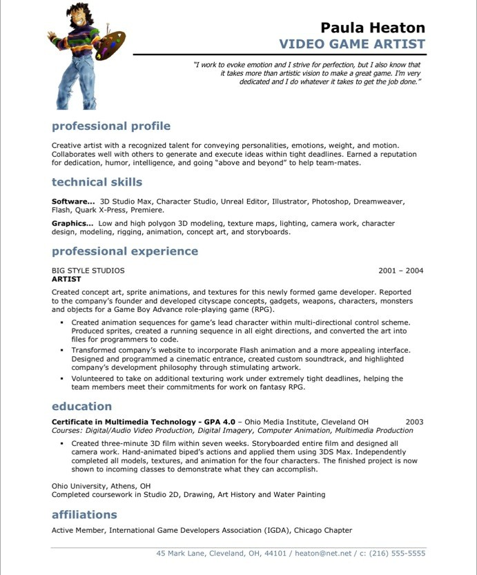 Video Game Artist Free Resume Samples Blue Sky Resumes - Sample Artist Resume