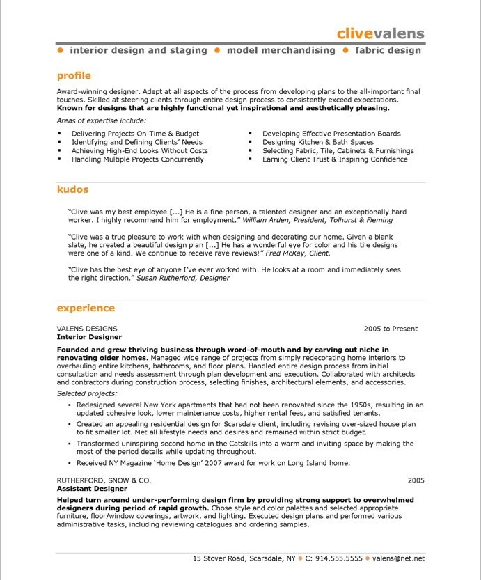 Interior Designer Free Resume Samples Blue Sky Resumes - Interior Design Resume Examples