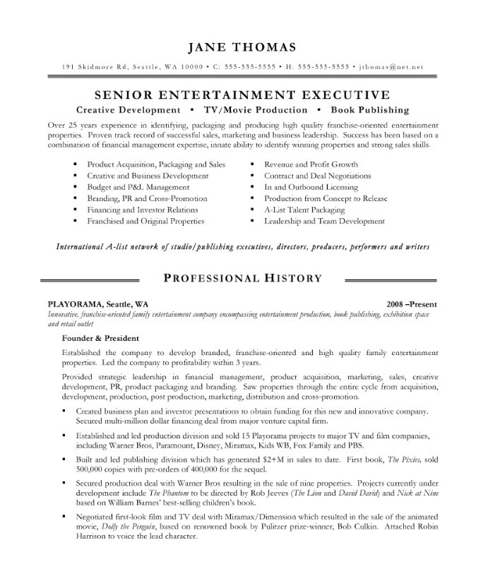 Entertainment Executive Free Resume Samples Blue Sky Resumes - blue sky resumes