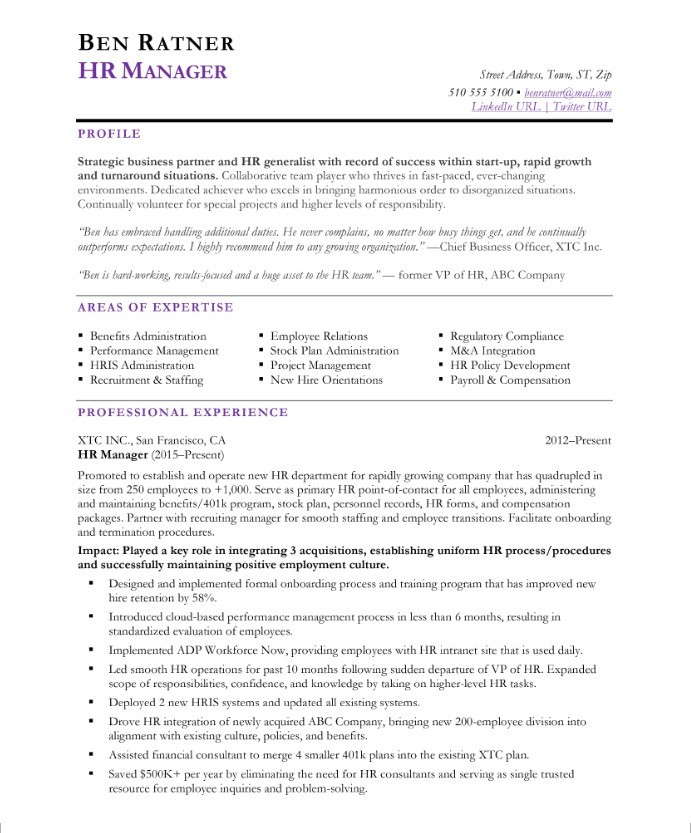HR Manager Free Resume Samples Blue Sky Resumes