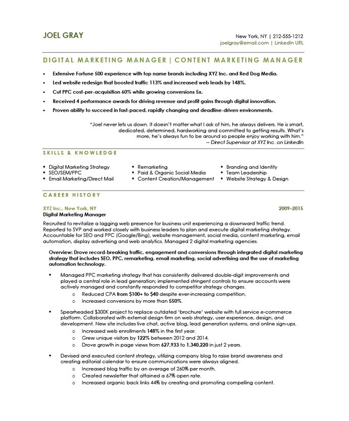 Digital Marketing Manager Free Resume Samples Blue Sky Resumes - marketing manager resume sample
