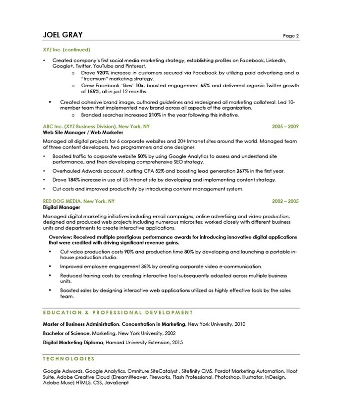 digital marketing manager resume - Boatjeremyeaton