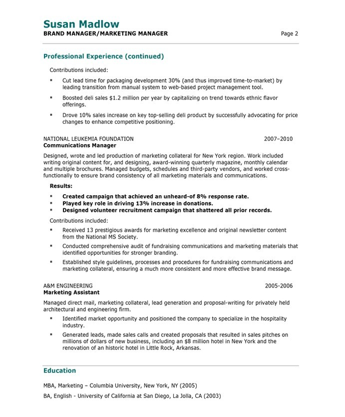 resume for marketing manager - zrom