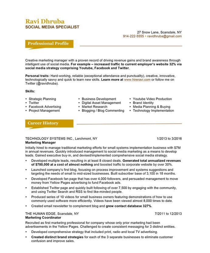 Social Media Resume Example - Examples of Resumes