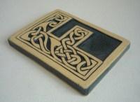 Celtic knot handmade ceramic alphabet tile F