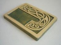 Celtic knot handmade ceramic alphabet tile J