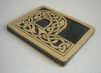 Celtic knot handmade ceramic alphabet tile P