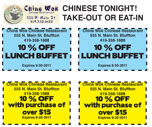 China Wok offers discount coupons - available on The Icon The