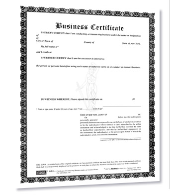 Business Certificate-Forms for Trade Name, DBA, Assumed Name