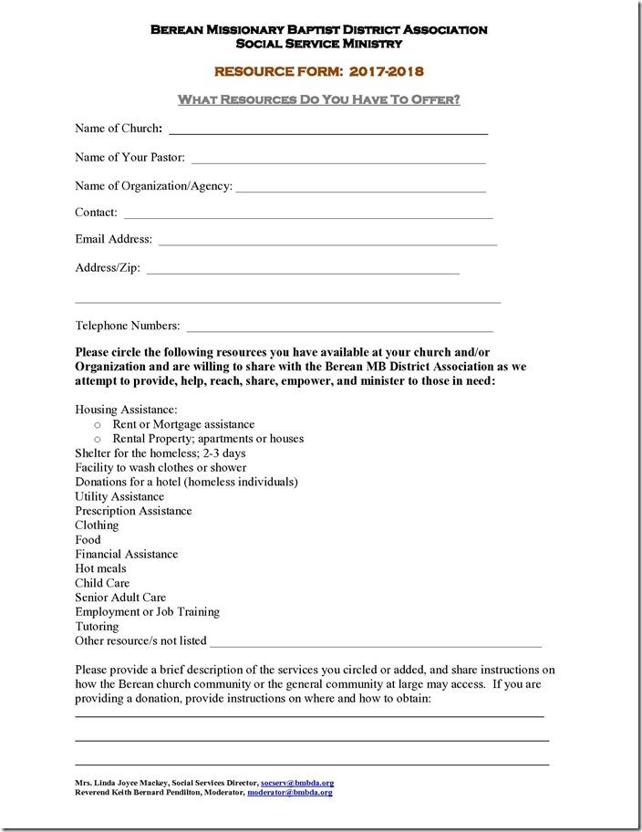 Social Services Resource Form - rental assistance form