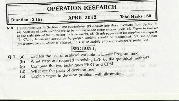 Operations Research Mumbai University April 2012 Exam