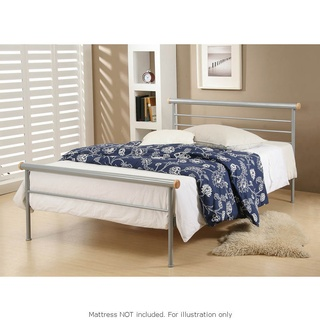 Orion Silver Metal Standard Size Bed Frame In Single Bed