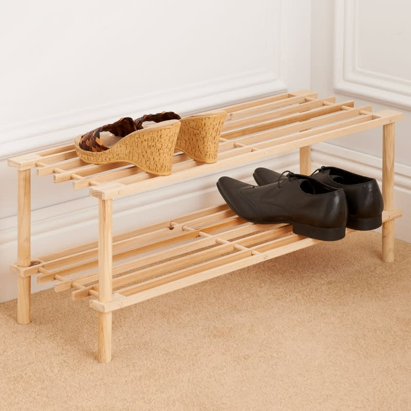 Wooden Shoe Rack 2 Tier Wooden Shoe Rack | Storage | Shelving - B&M