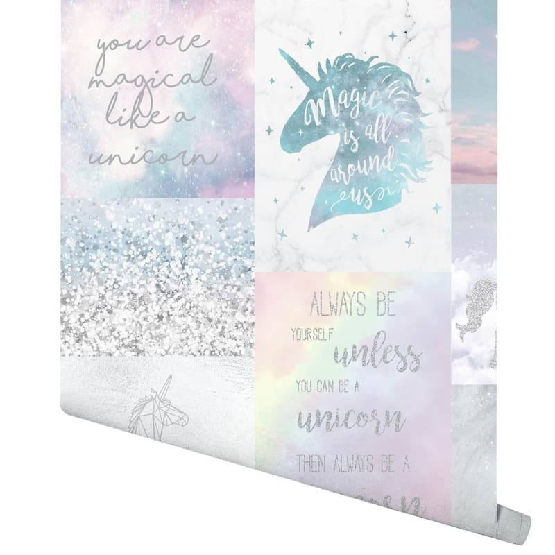 Rose Gold Wallpaper With Quotes Believe In Unicorns Wallpaper Multi Wallpaper B Amp M