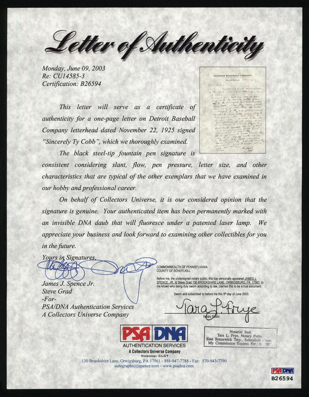 Sample Insurance Cancellation Letter 1925 Ty Cobb Handwritten And Signed Letter Psadna Ebay