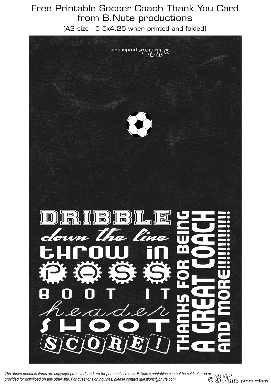 soccer coach thank you card