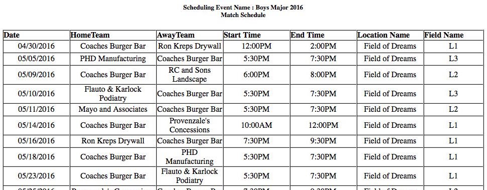Current Youth Baseball Schedules for Boardman Community Baseball