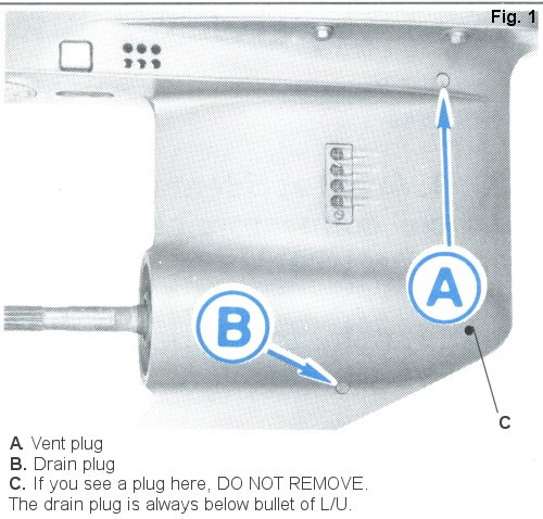 Lower unit (foot) descriptions on an outboard boat motor