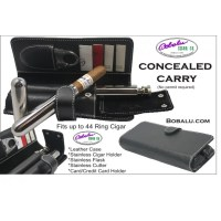Concealed Carry Leather Cigar Holder with Flask