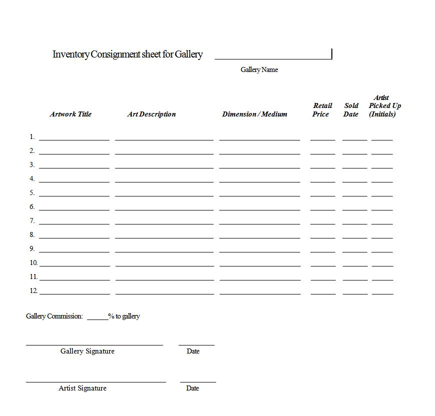 Artist and gallery contracts - sample artist contract template